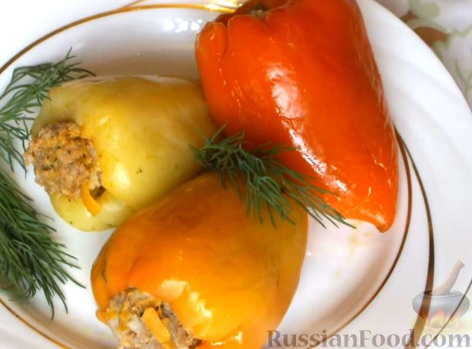 Рецепт Болгарский перец, фаршированный мясом и рисом ...