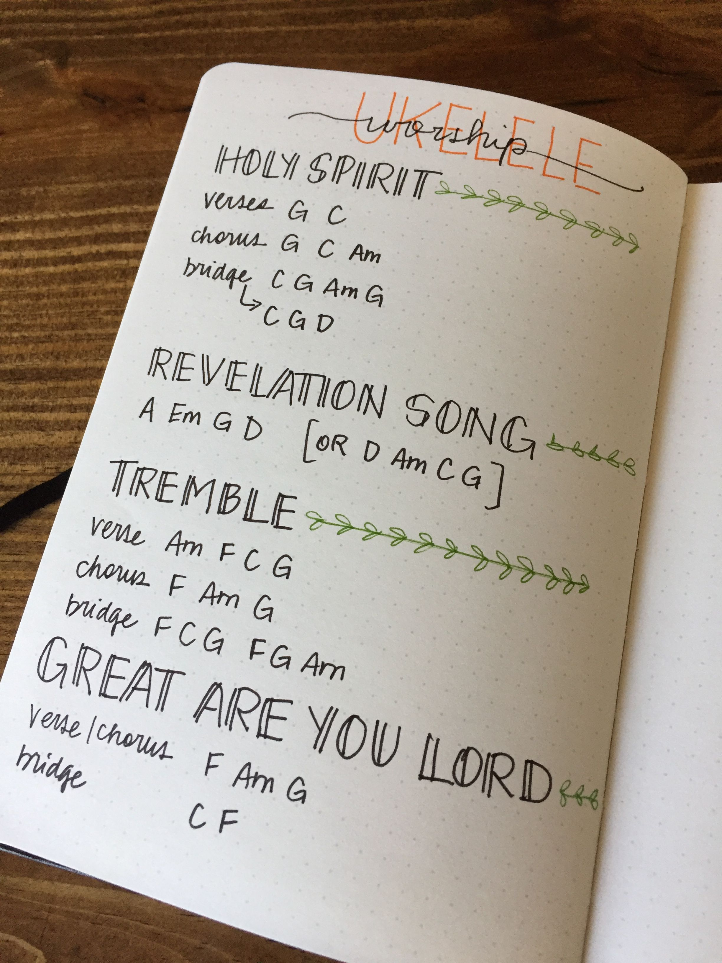 Bullet Journal spread for ukulele | Bullet Journal Obsession