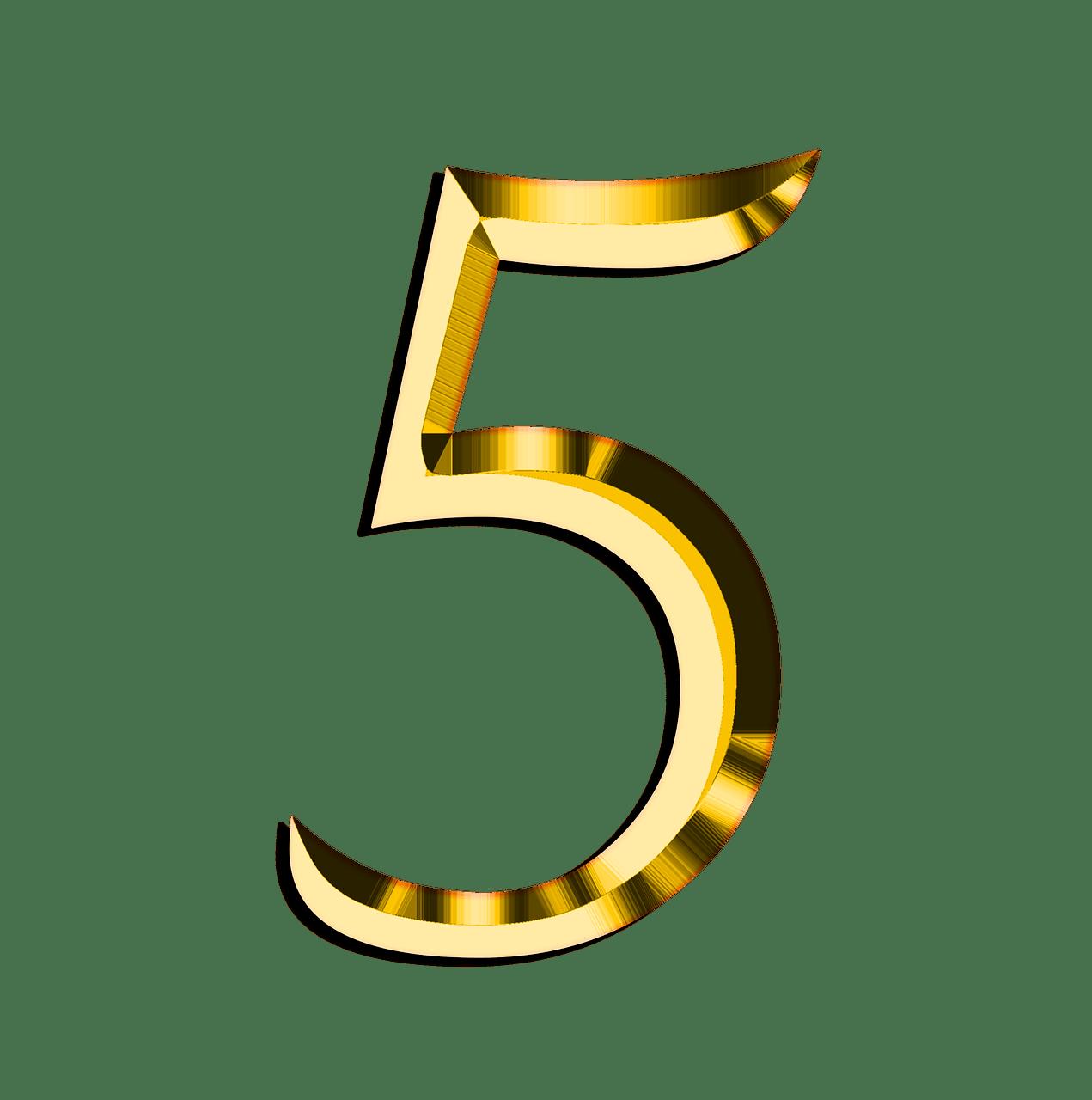 Zlaten Nomer 5 Golden Number Alphabet And Numbers Numbers