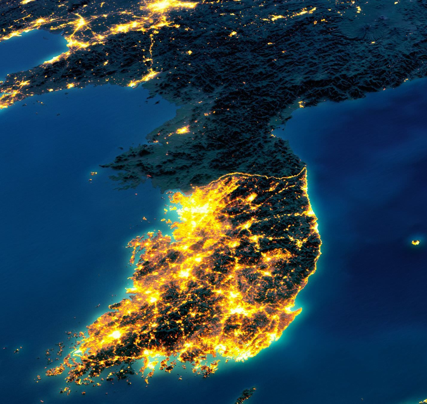 South Korea vs North Korea at night