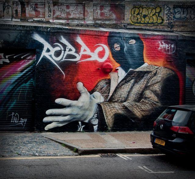 Street artist Adnate does London tribute to Robbo   London Shoreditch Street Art Tours