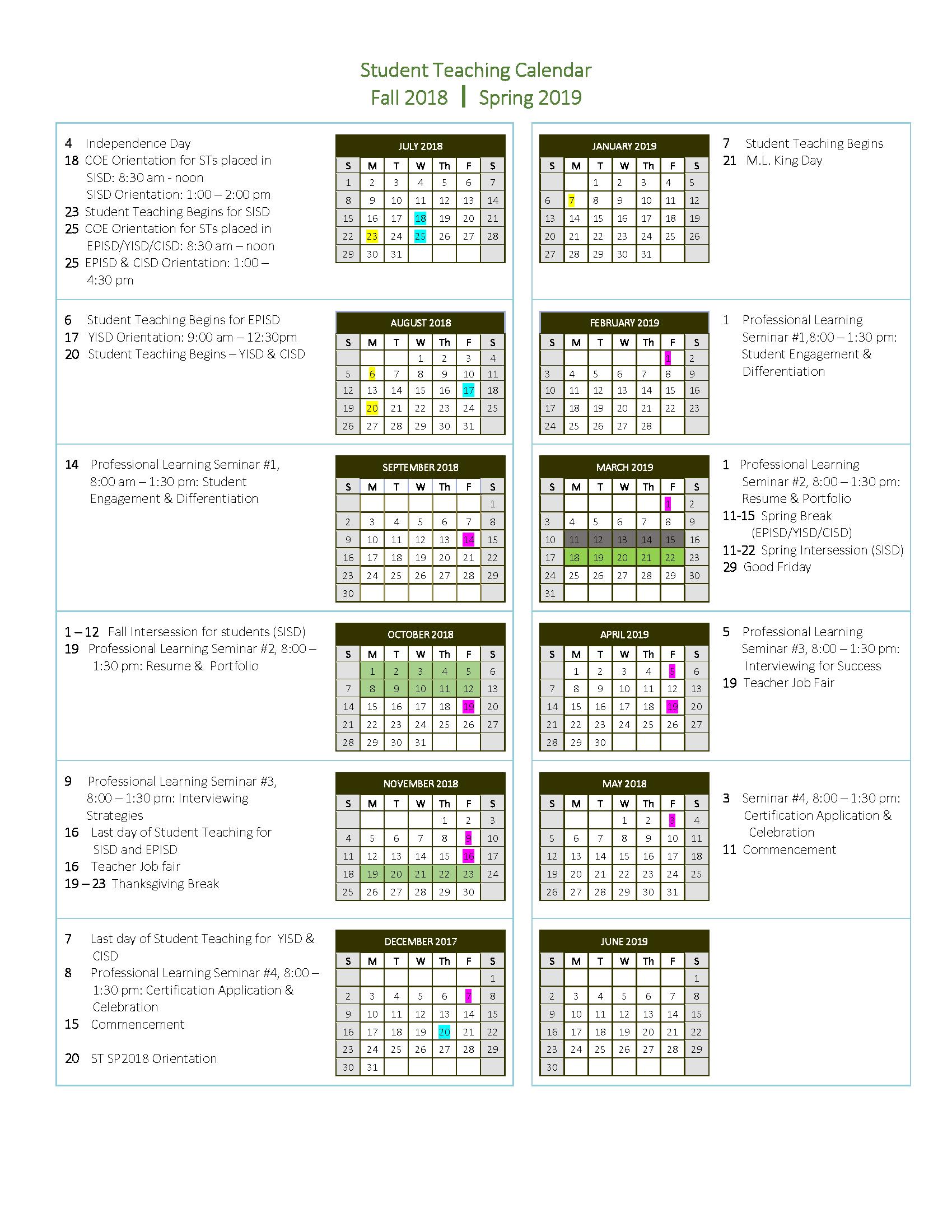 Utep Spring 2022 Calendar.
