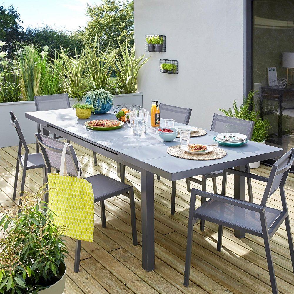 table de jardin naterial niagara rectangulaire 68 personnes 5 lames gris prix table de - Table De Jardin Pas Cher Leroy Merlin