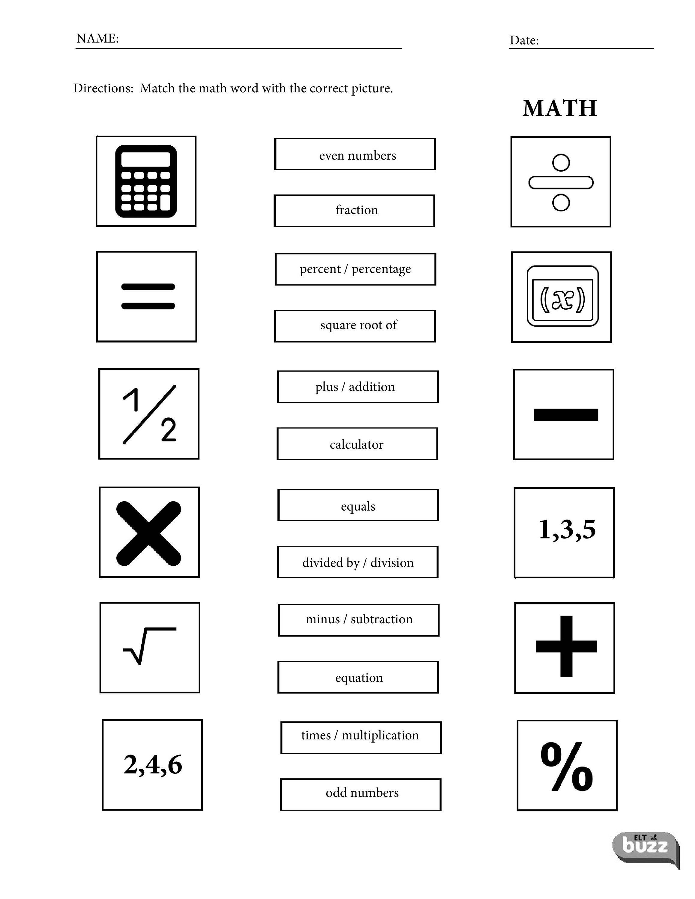 Printable Math Vocabulary Worksheets For Children Students