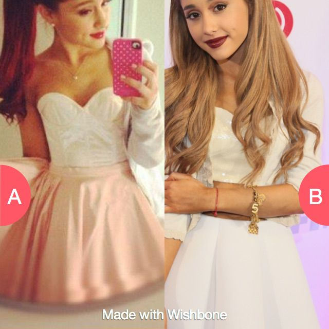 Which outfit is prettier on ariana Click here to vote @ http://getwishboneapp.com/share/12270462