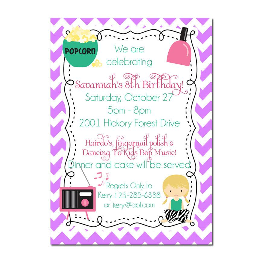 Slumber party invitation sleepover invitation night owl party