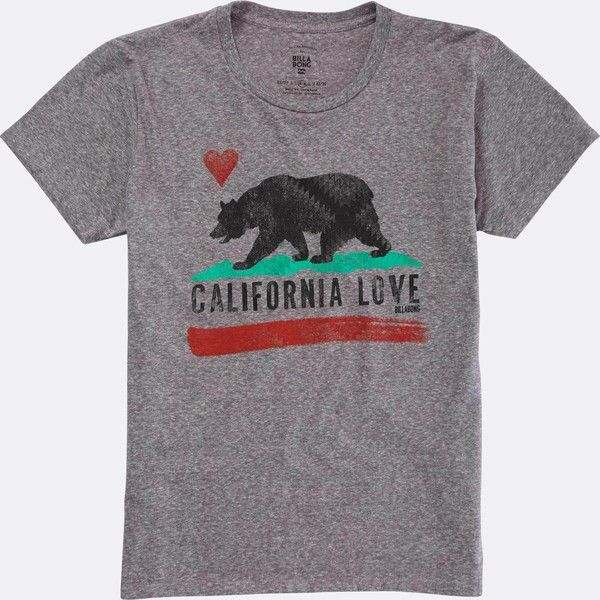 Billabong Women's Cali Bear Original Tee (25 CHF) ❤ liked on Polyvore featuring tops, t-shirts, dark athletic grey, t-shirt/prints, short sleeve t shirts, graphic tees, graphic design t shirts, crew neck t shirt and graphic t shirts
