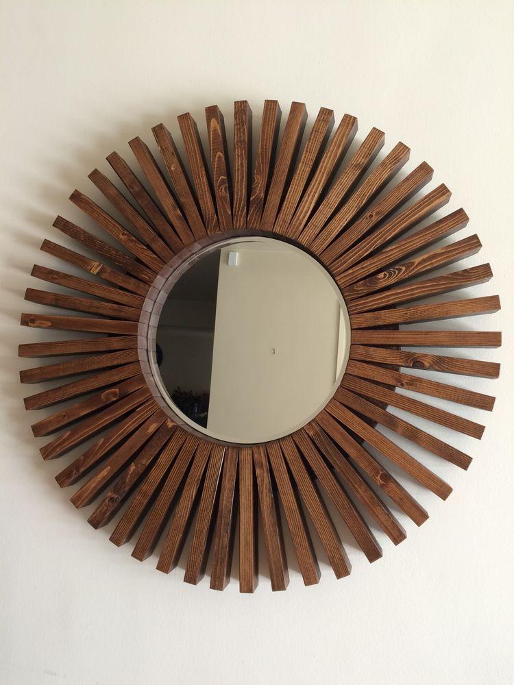 Ooak Sunburst Wall Mirror Handmade Walnut Color Wood Frame 26 Ebay Mirror Sunburst Mirror
