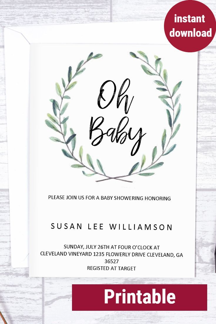 Oh Baby Baby Shower Invitation Baby Shower Invites Printable Baby