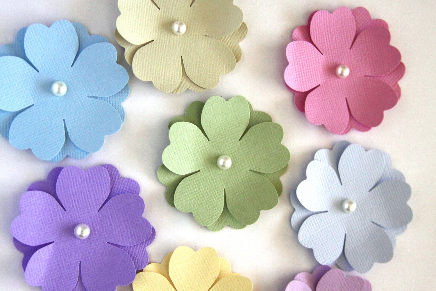 Handmade paper flower choice image flower decoration ideas handmade paper flowers in pastels die cut flower spring flowers handmade paper flowers in pastels die mightylinksfo