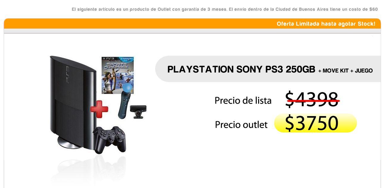 Playstation Sony Ps3 250gb + Move Kit + juego < PRECIO OUTLET $3750 >