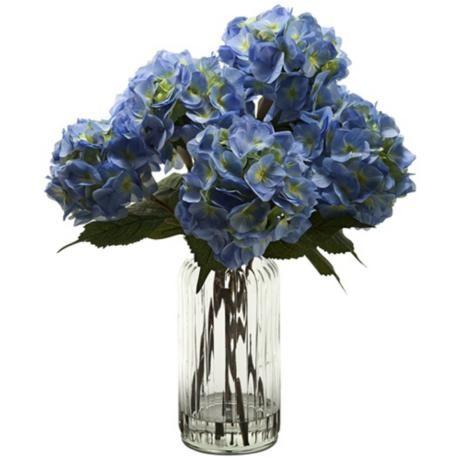 Blue Hydrangeas In Tall Ridged Glass Vase 3x387 Lampsplus Com Hydrangea Arrangements Tall Glass Vases Artificial Flowers