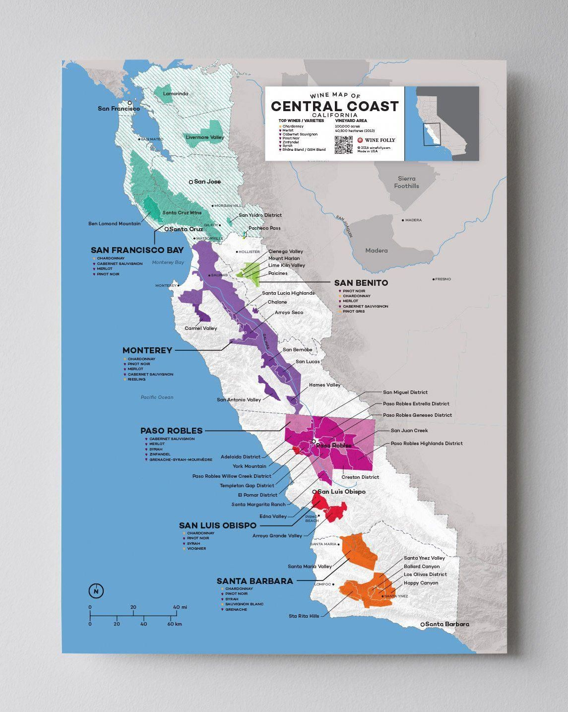 Industry California Map.Usa California Central Coast Wine Map Winegrapes Wine Industry