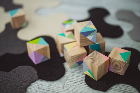 "Wooden blocks ,,TRIANGLES "" /Pastel wooden blocks / Baby gift / Photo prop / Interior design element"