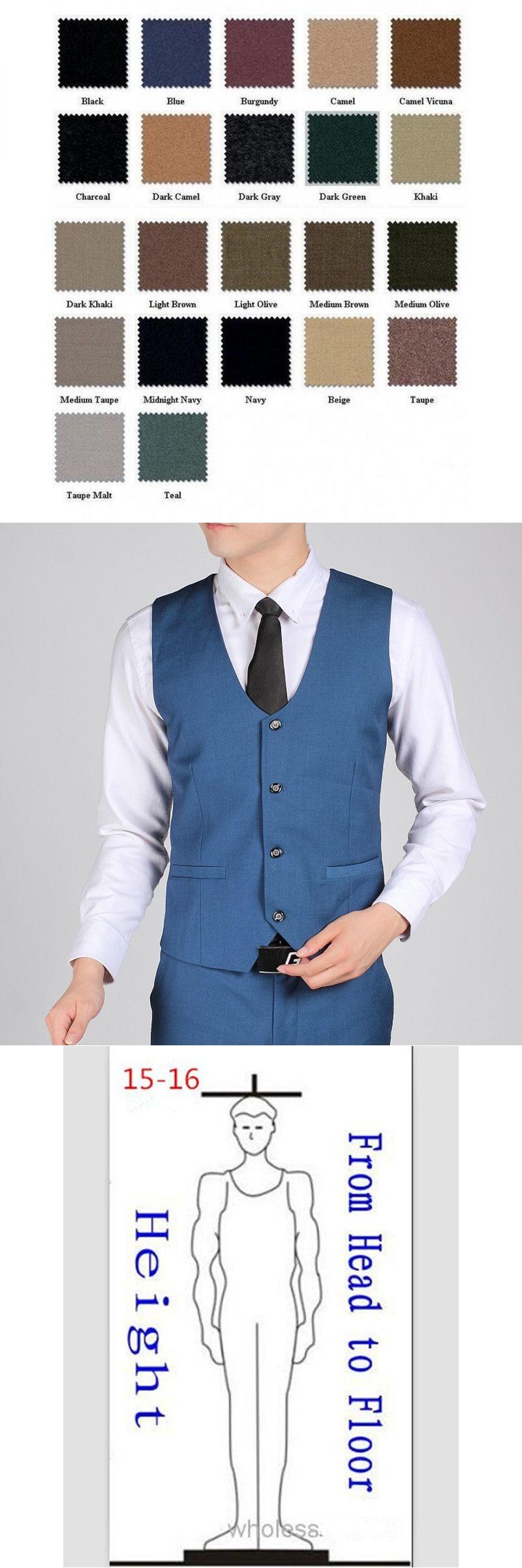 British Style Royal Blue Gentleman Vest Men Office Formal Business ...