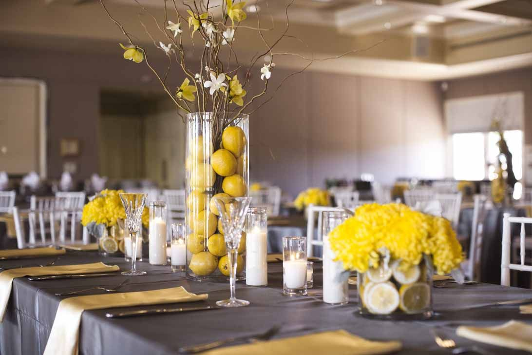 A Fresh Gray And Yellow Wedding Table Centerpiece