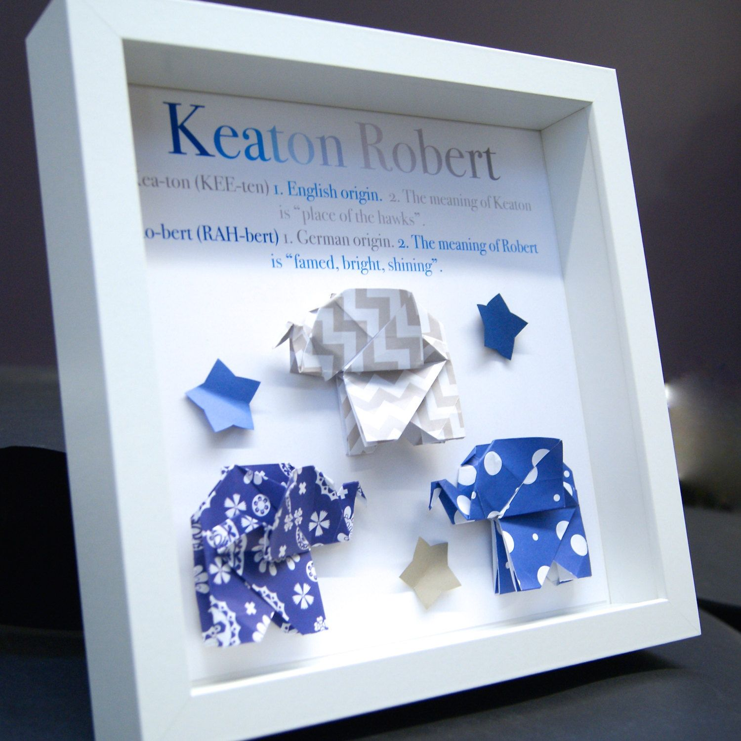 Personalized Name Origin And Meaning Paper Origami Elephants Shadowbox  Frame Custom Art Newborn Baby Shower Nursery Wall Art Gift