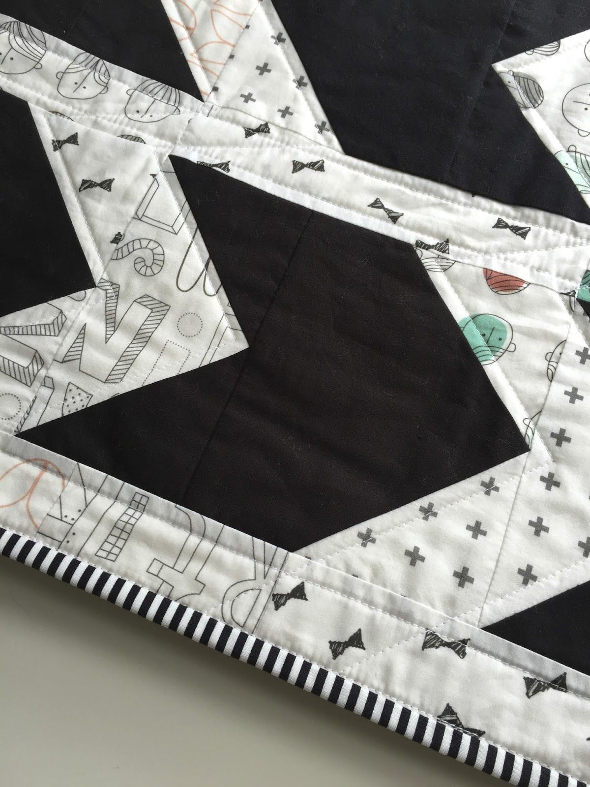 salty oat: modern handmade quilts: black-and-white pow-wow quilt in cotton lawn