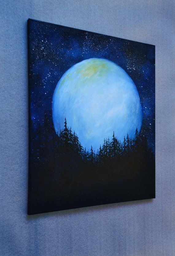 Night sky painting Starry sky Crescent moon Oil painting on canvas Forest painting Moonlight painting Moon in Pine Trees