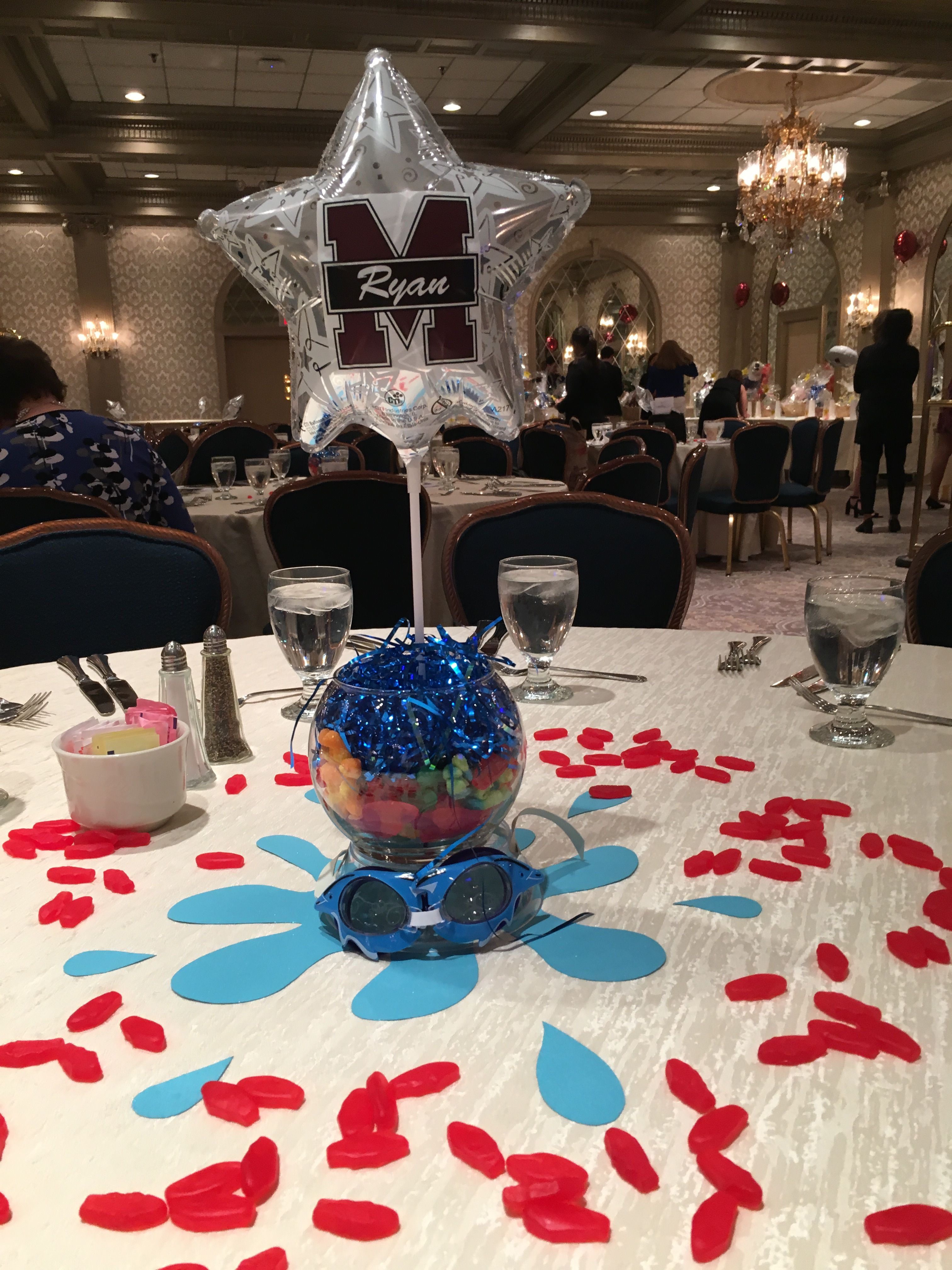 ae75a288ca3 High school Swim Banquet Centerpiece | Swim Banquet | Swim team ...