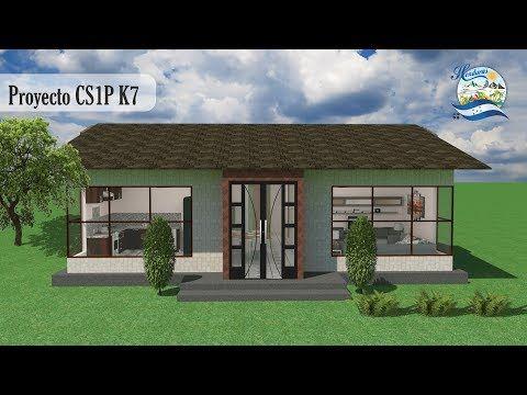Planos Casa 1 piso 3 cuartos sala/comedor grande baño independiente ventanas grandes 11X10M - YouTube