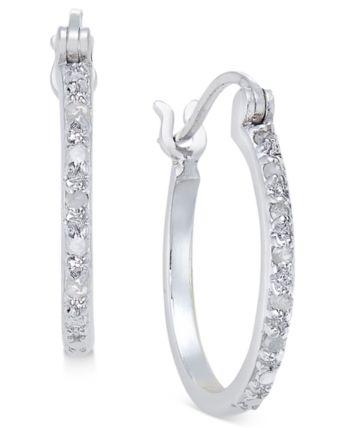 ac1690eb0 Diamond Hoop Earrings (1/10 ct. t.w.) in Sterling Silver - Silver in ...