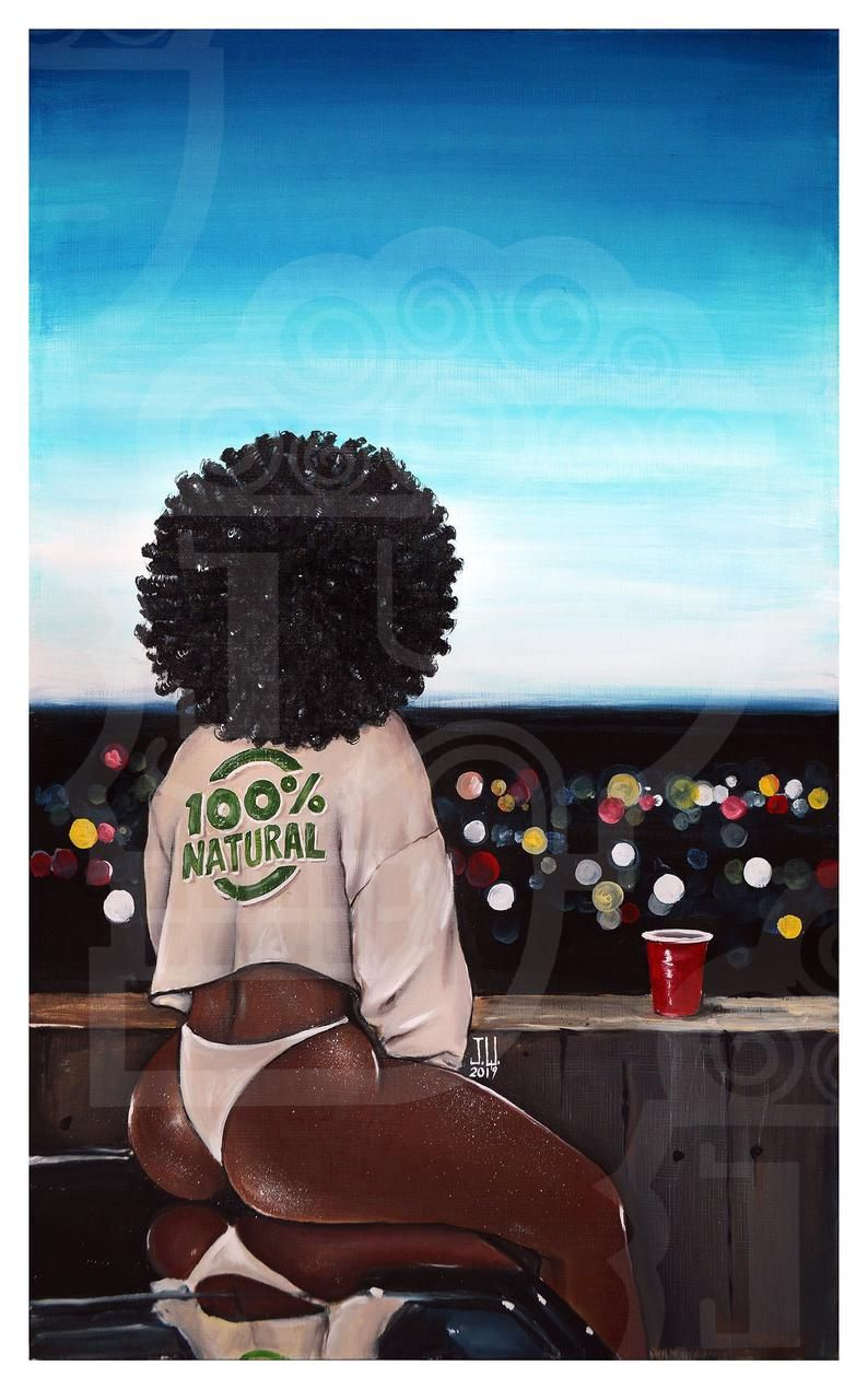 JEREMY WORST 100% Natural African girl pretty afro Canvas sky urban pinup nude nsfw Sexy Girl bokeh Nubian queen wall Art car hood wrap