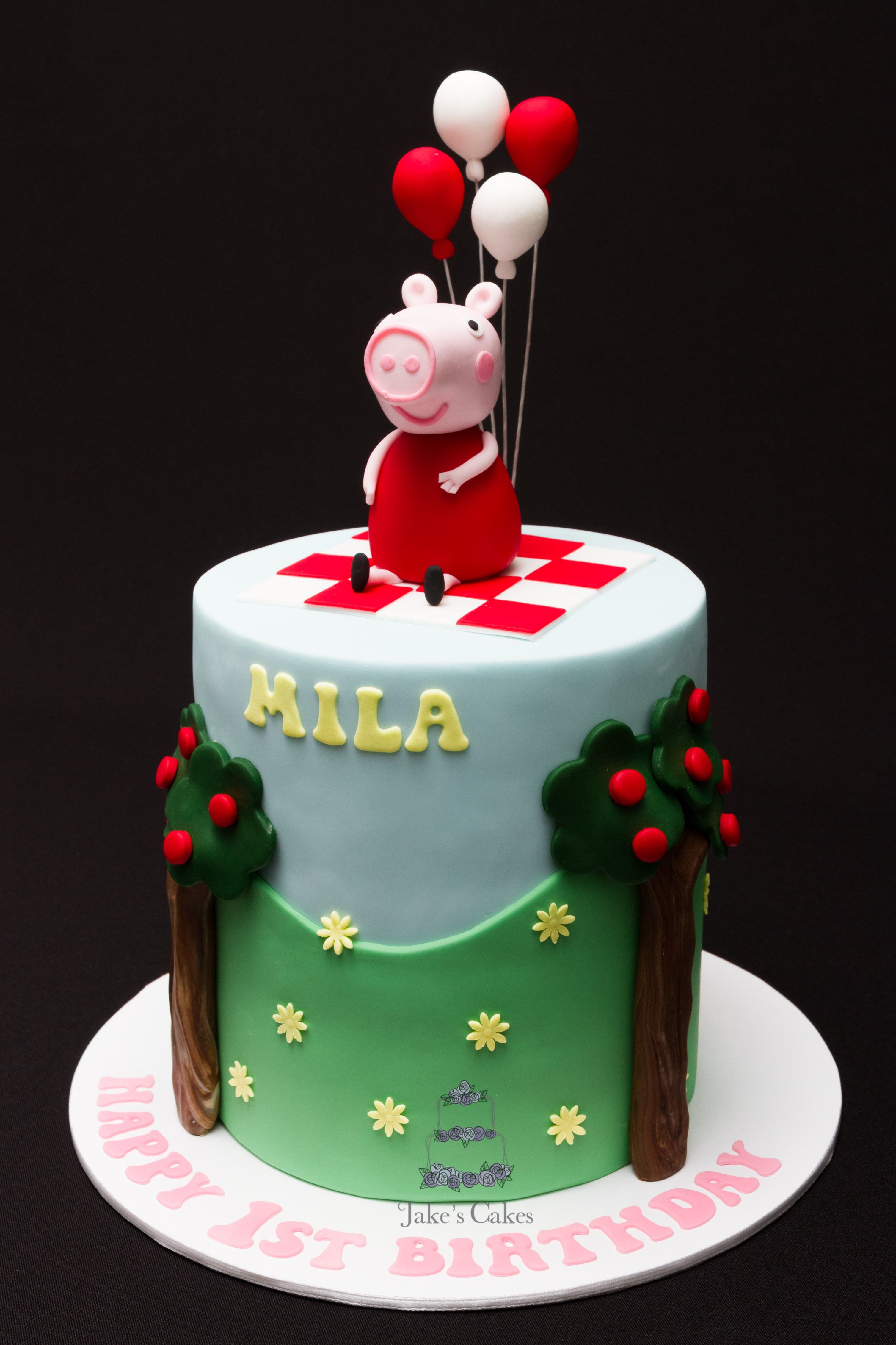 A Peppa pig cake for little Mila\u0027s first Birthday this week