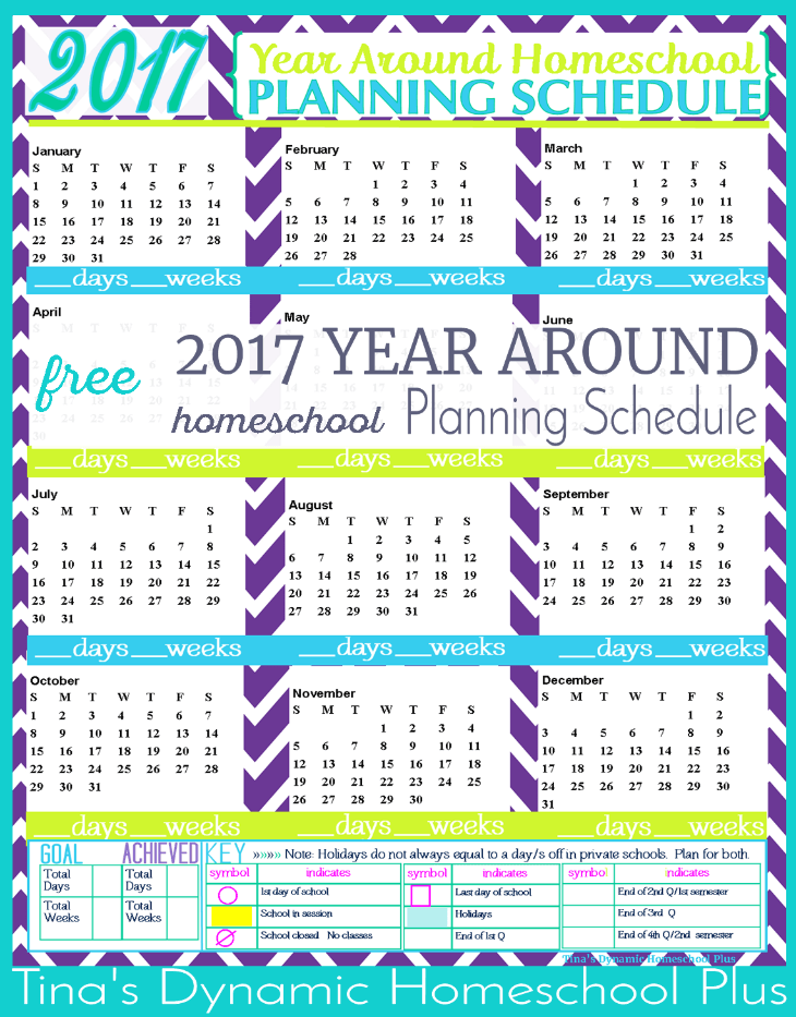 2017 Year Around Planning Schedule. Waves Color. Also, remember that I offer this homeschool planning form 2 ways. One way is following the academic year from July to June and the other way is the physical year from January to December. Begin building your FREE 7 Step Homeschool Planner @ Tina's Dynamic Homeschool Plus