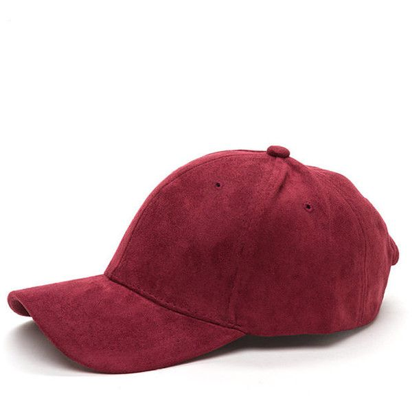 9806794ebf181f Fashion Play Faux Suede Baseball Cap WINE (535 PHP) ❤ liked on Polyvore  featuring accessories, hats, red, brimmed hat, baseball hat, adjustable hats,  red ...