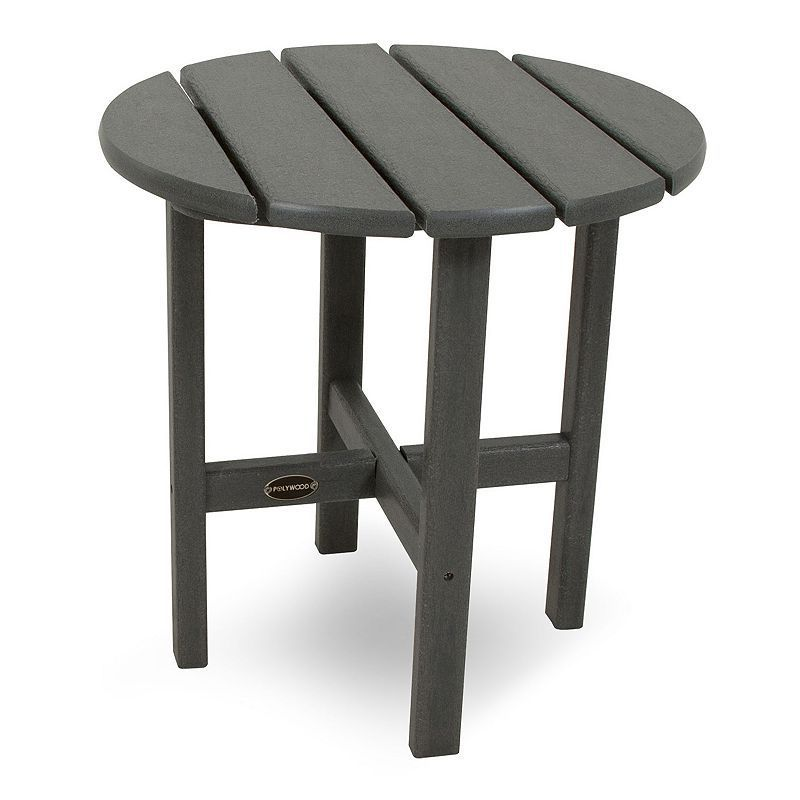 POLYWOOD Round Side Table - Outdoor, Grey