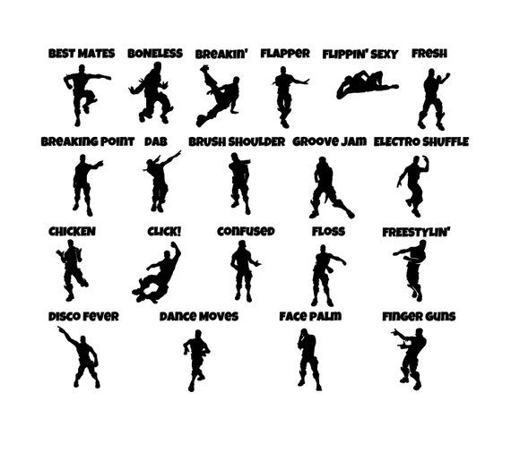 fortnite emotes lot of 60 individual emotes svg file updated - fortnite dance bass boosted roblox id