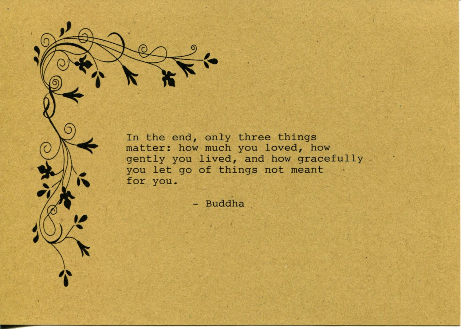 Buddha Quote Made on Typewriter Art Quote Wall Art - In the end only ...