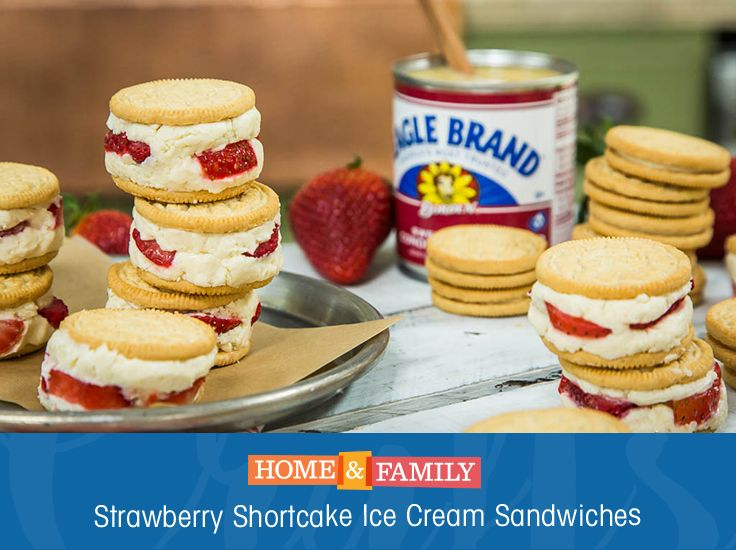 Strawberry Shortcake Ice Cream Sandwiches -  These ice cream sandwiches require no churning and so simple to put together. Just combine condensed milk and whipping cream, add strawberries, freeze, and cut out circles to put in between an Oreo cookie. Recipe by My Cupcake Addiction!