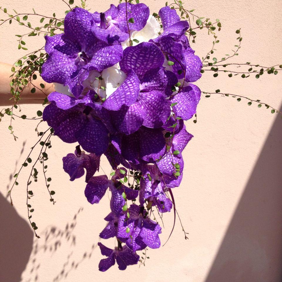 Bouquet Cadente Sposa.Bouquet Cadente Con Orchidee Vanda Blue Magic Bouquet Da Sposa