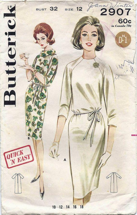 60s Vintage Raglan Sleeve Dress Butterick Pattern 2907 Bust 32 ...