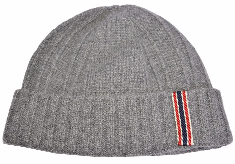 cb082ee180c180 New Gucci Men's 309854 Grey 100% Cashmere Blue Red Web Beanie Ski Hat S # Gucci #Beanie