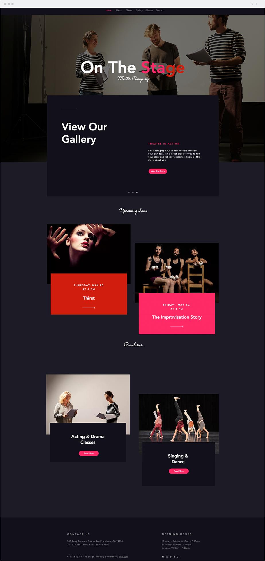 Theater Company Website Template Wix Website Templates Pinterest
