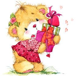 Valentine Day Teddy Bear Background For Congratulation Festive
