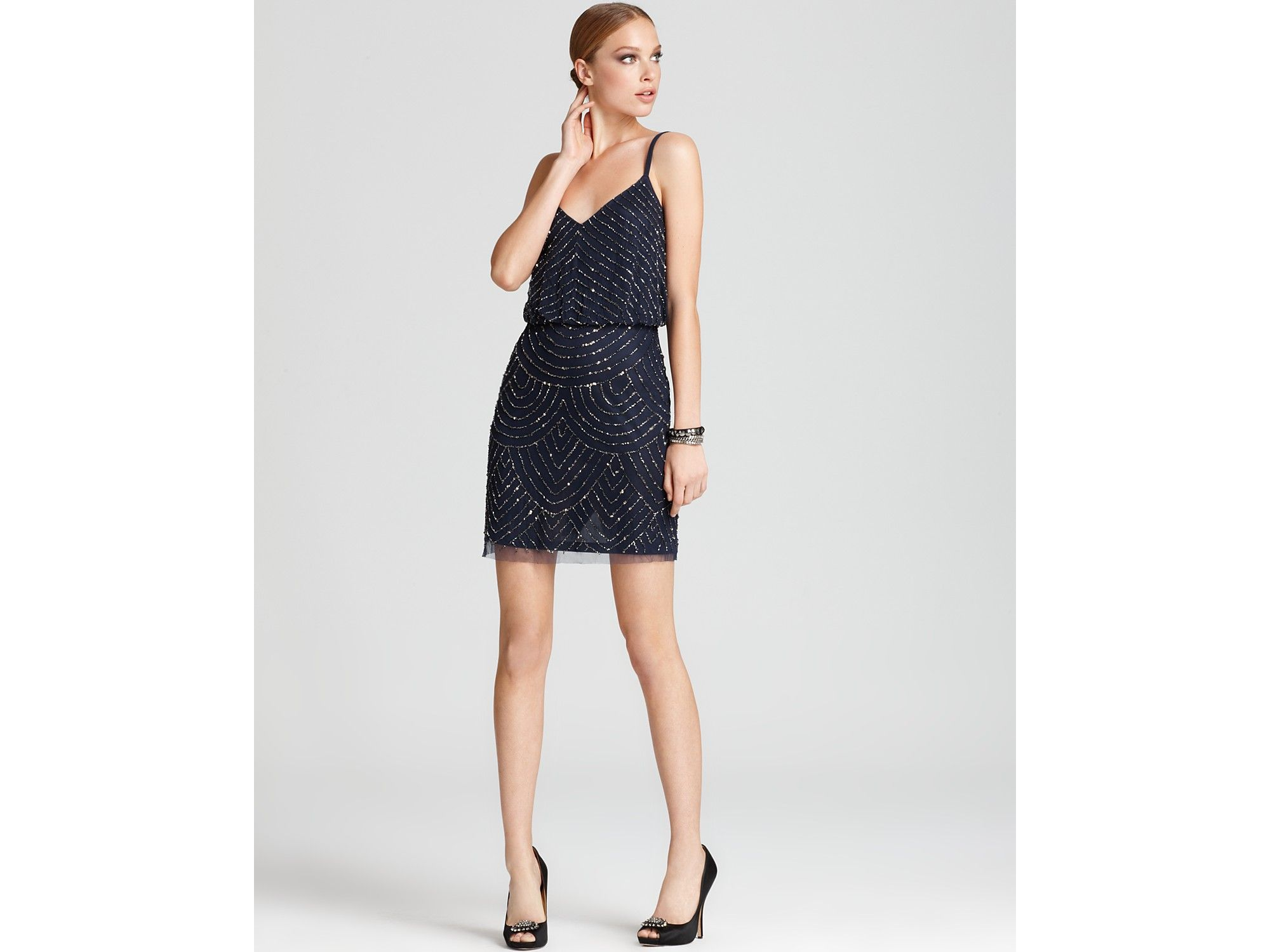 Adrianna Papell Beaded Dress Blouson in Blue (navy) | Lyst