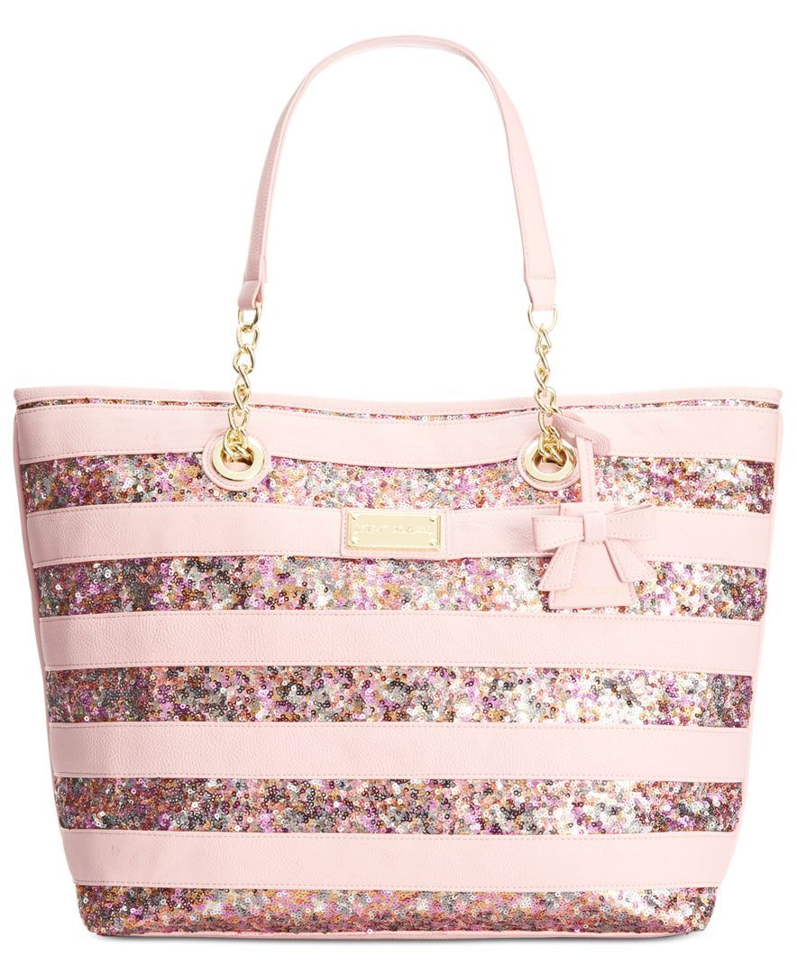 3dd4f2e1de0b Betsey Johnson Macy s Exclusive Stripe Sequin Tote - Handbags   Accessories  - Macy s