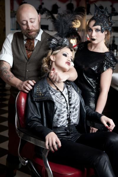 Halloween headpieces by The Libertarian. Photo: Sarah Raymond, Models: Stephanie Grieve, Angela Tinkler and Demon Barber 1969 (Also location of shot). MUA: Viki Lloyd