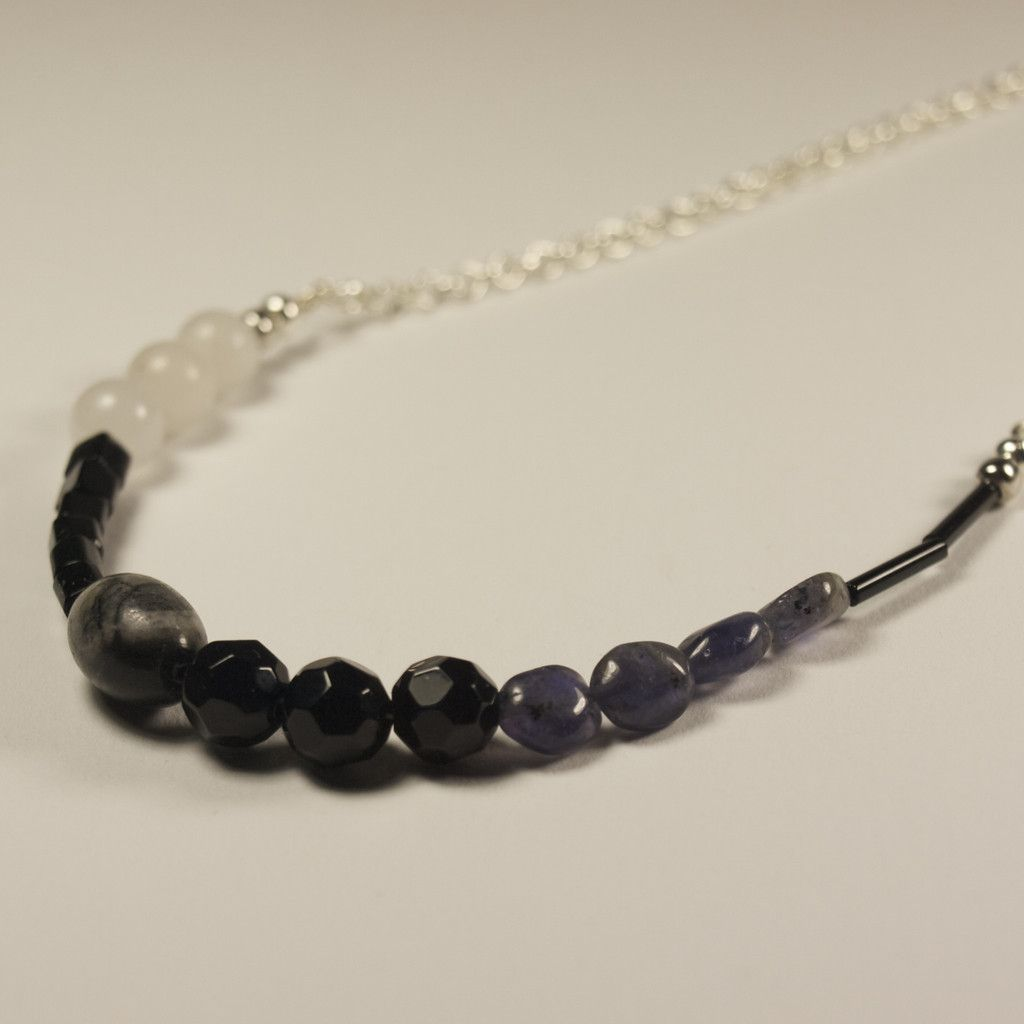 Flynn Short Necklace - Iolite, Snow Quartz, Jasper, Glass. Limited Edition Jewellery Handmade in New Zealand. $49.00NZD www.theothermrsbell.com