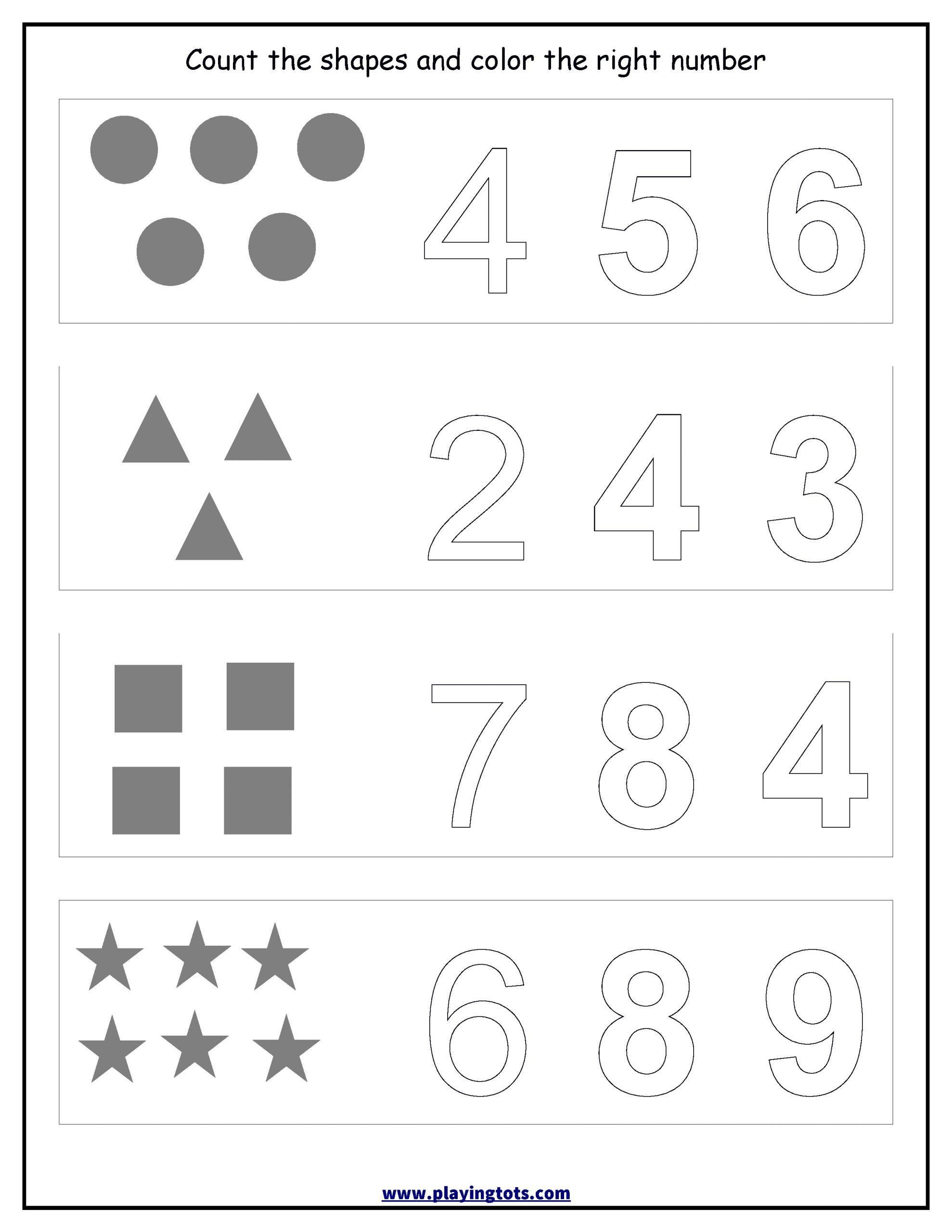 Shapes Worksheets For Kindergarten 9 Identify Numbers