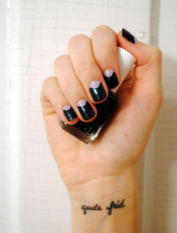 Semi Circle Reverse French Manicure Nails Nailart