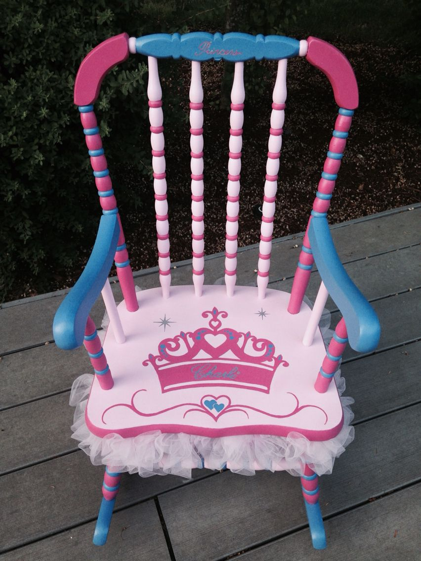 little girls chair on custom ordered princess tutu rocking chair for little girl painted in pinks and deep periwinkle pers diy rocking chair girls rocking chair kids rocking chair custom ordered princess tutu rocking