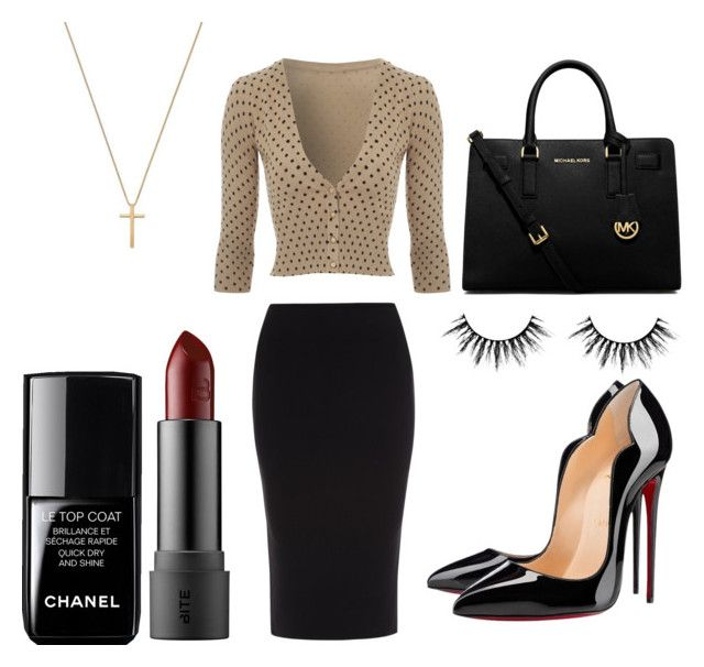 """""""Secretary style"""" by ines-lynch ❤ liked on Polyvore featuring Roland Mouret, Jane Norman, Christian Louboutin, Gucci, MICHAEL Michael Kors and Chanel"""