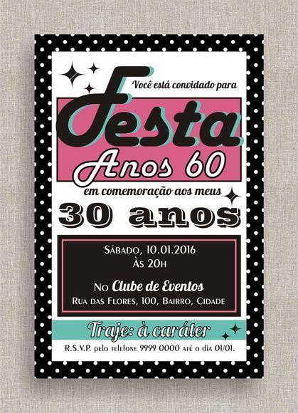 Convite Digital Aniversário 22 Festa Temática Anos 60 Anos 50