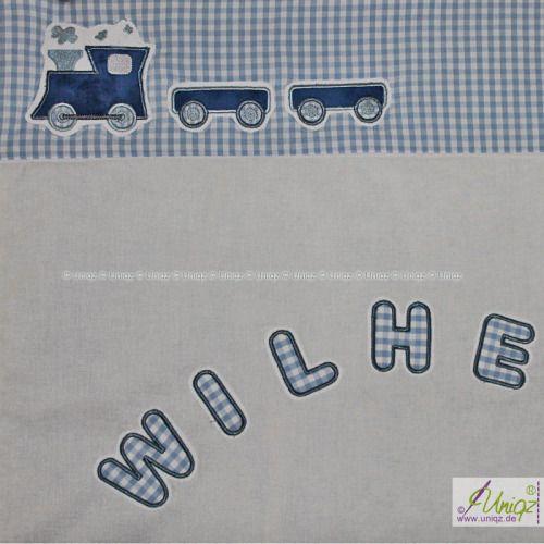 kinderdecke eisenbahn mit namen babydecken kinderdecken pinterest kinder deckchen und baby. Black Bedroom Furniture Sets. Home Design Ideas