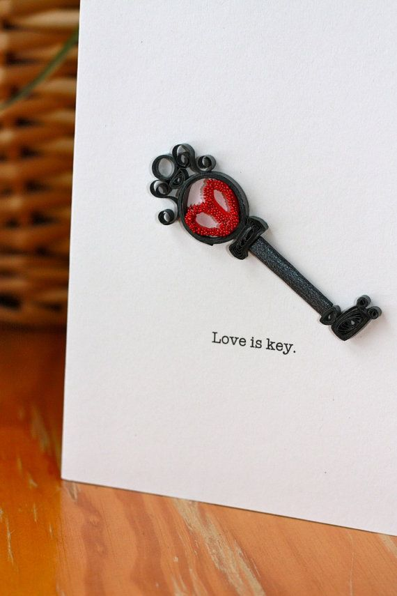 love is key quilled skeleton key card by sweetspotcardshop on etsy